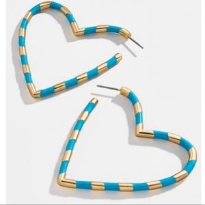 BaubleBar ANNAELLE HEART HOOP EARRINGS-BLUE